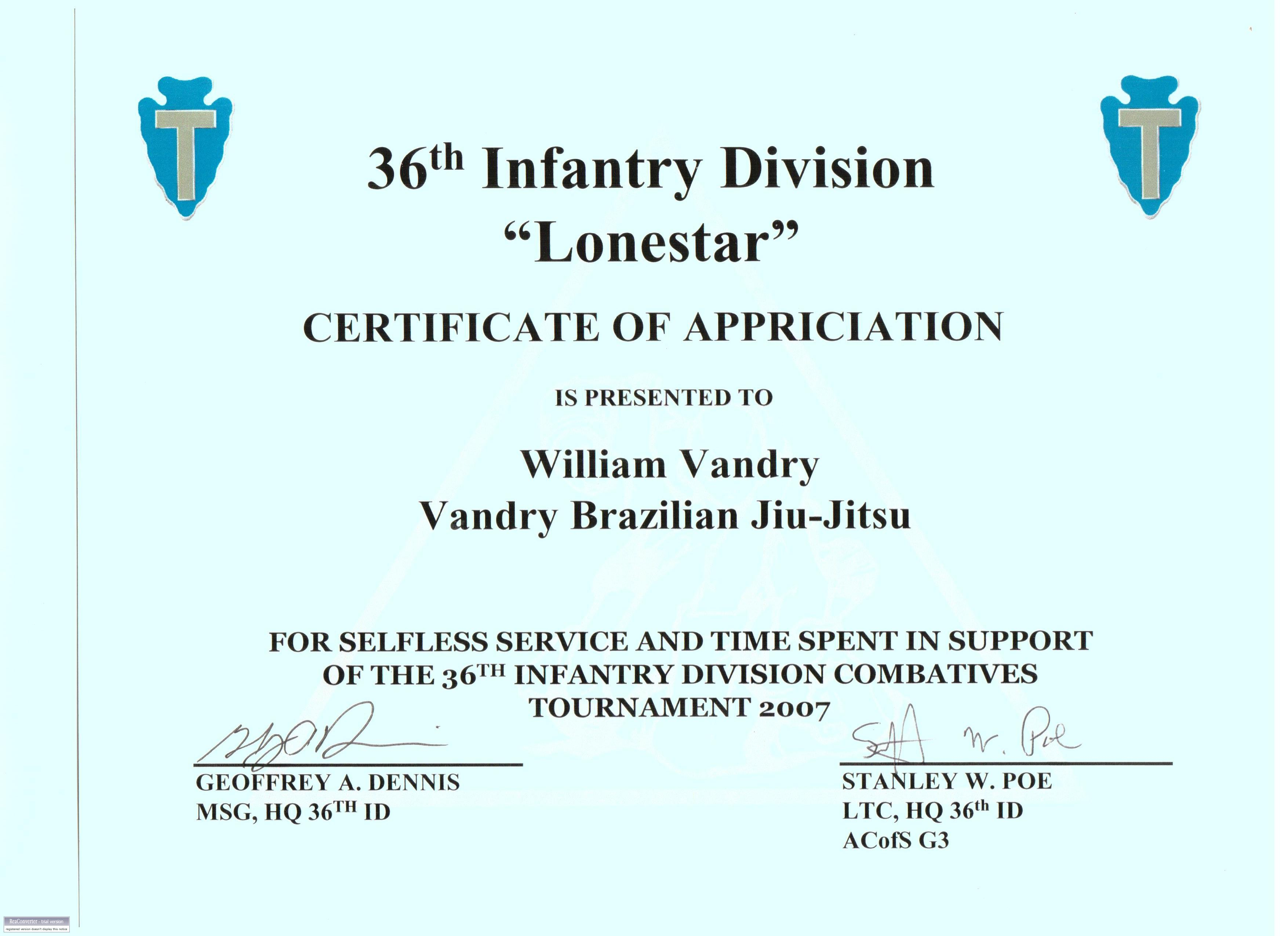 William Vandry William Vandry Community – Army Certificate of Appreciation